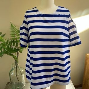 Stylus nautical stripe cold shoulder top